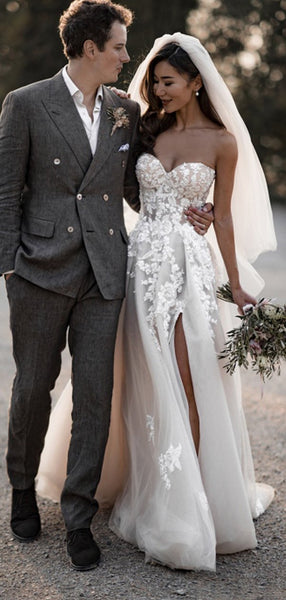 Side Slit Long Wedding Dresses, A-line Sweetheart Tulle Lace 2020 Wedding Dresses