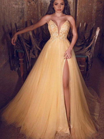 High Side Slit Tulle 2020 Prom Dresses, Lace Strapless Long Prom Dresses