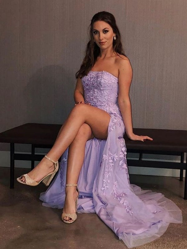 Elegant Lilac Prom Dresses, Side Slit Prom Evening Dress, 2020 Lace Formal Dresses