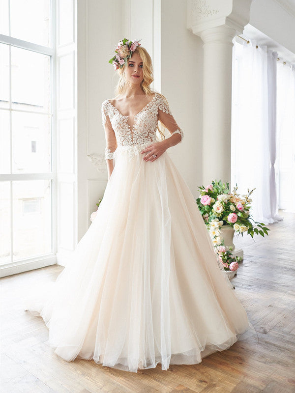 V-back Lace Tulle A-line Long Wedding Dresses, Elegant Lace Bridal Gowns