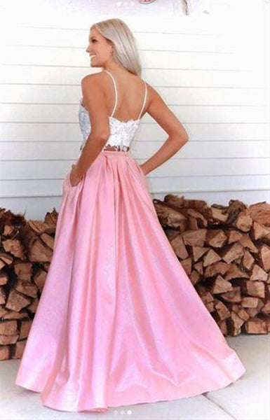 Two Pieces Lace Long Prom Dresses, A-line Satin Newest Prom Dresses
