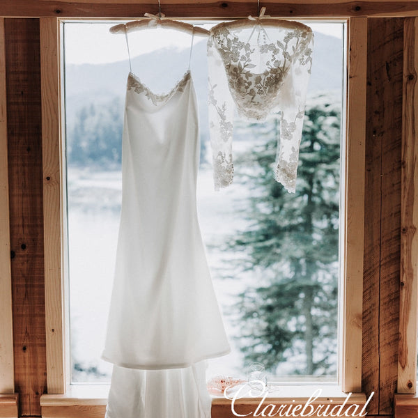 2 Pieces Lace Top Long Mermaid Wedding Dresses