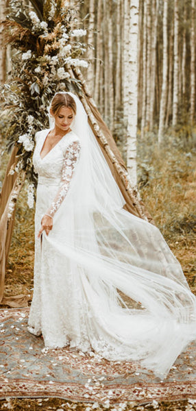 Long Sleeves Popular Lace Wedding Dresses, High Slit Lace Elegant Wedding Dresses