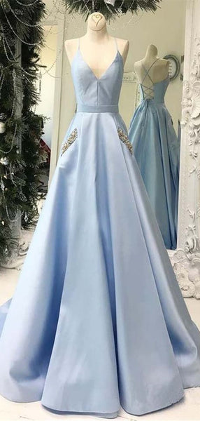 Light Blue V-neck Prom Dresses, A-line Prom Dresses, Beads Prom Dresses