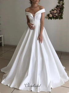Simple Off Shoulder Wedding Dresses, Cheap A-line Wedding Dresses