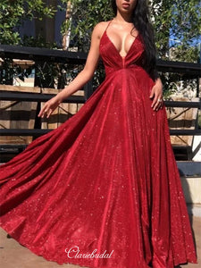 Sexy V-neck New Arrival Long Prom Dresses, Eveing Party Popular Prom Dresses