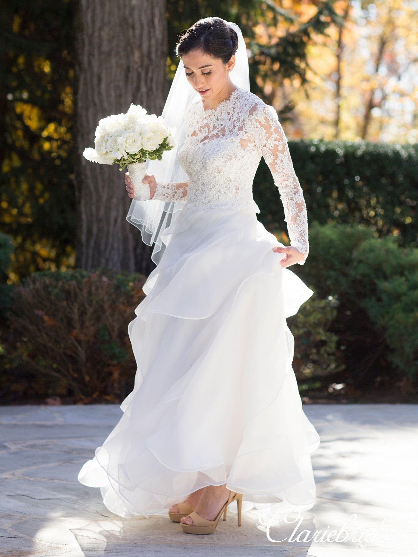 2 Pieces Lace Top Ruffled Organza Wedding Dresses, Bridal Gown