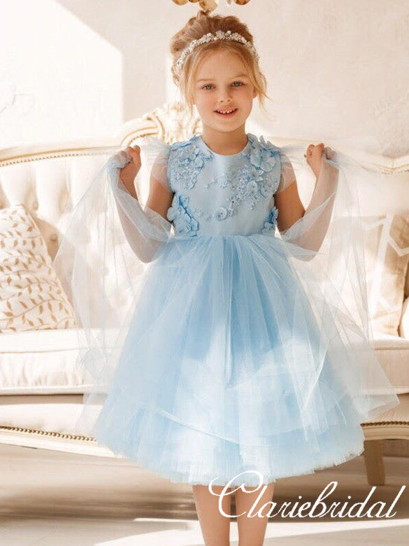 Lovely Cap Sleeves Pale Blue Tulle Appliques Flower Girl Dresses
