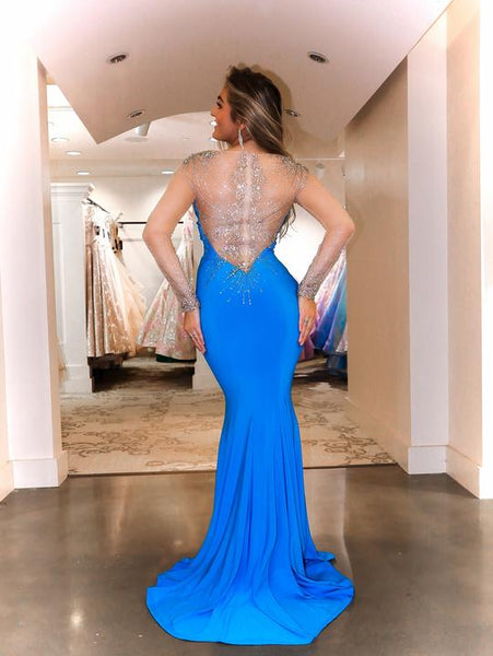 V-neck Long Sleeves Satin Beaded Prom Dresses, Mermaid Prom Dresses, 2021 Prom Dresses