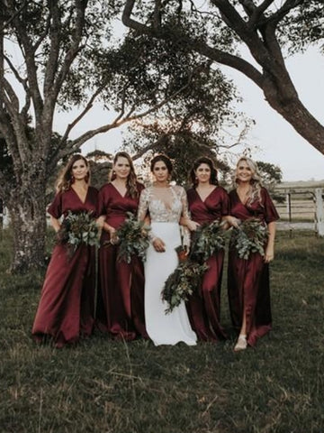 V-neck Boho Half Sleeves Burgundy Elastic Satin Bridesmaid Dresses, Long Bridesmaid Dresses