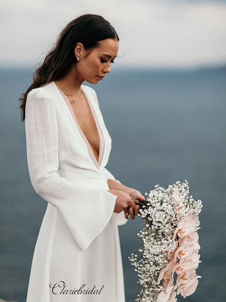 Long Sleeves Chiffon Wedding Dresses, Simple V-neck Wedding Dresses
