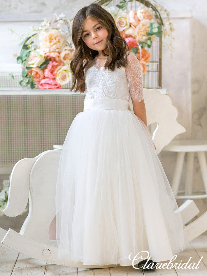 Half Sleeves Lace Top Tulle Flower Girl Dresses