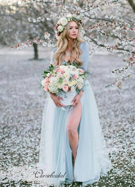 Long Sleeves V-neck Wedding Dresses, A-line Wedding Dresses