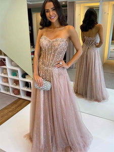 Sweetheart Rose Sequin Tulle Beaded Prom Dresses, Sparkle Prom Dresses, 2021 Prom Dresses