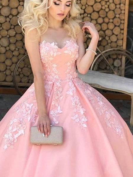 Sweet Heart Lace A Line Long Prom Dresses, Pink Color Prom Dresses, 2021 Evening Dresses