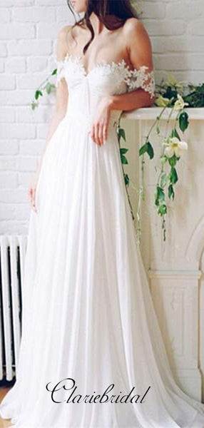 Sexy Lace Long A-line Chiffon Wedding Dresses, Off the Shoulder Wedding Dresses