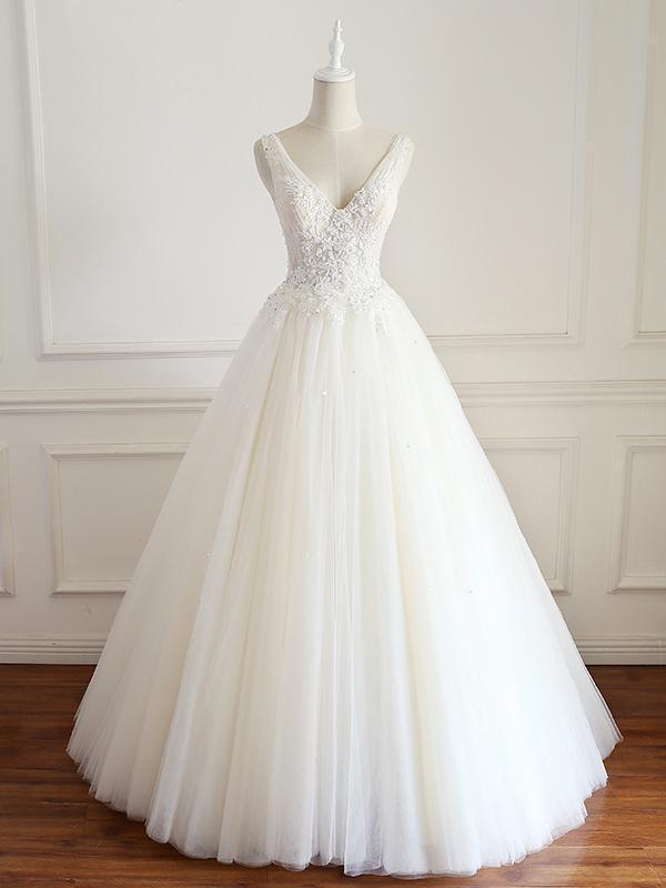 V-neck Lace Beaded Long A-line Tulle Wedding Dresses