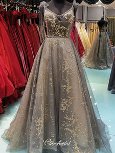 Elegant Appliques Newest Prom Dresses, Beaded Long Prom Dresses, Popular Prom Dresses