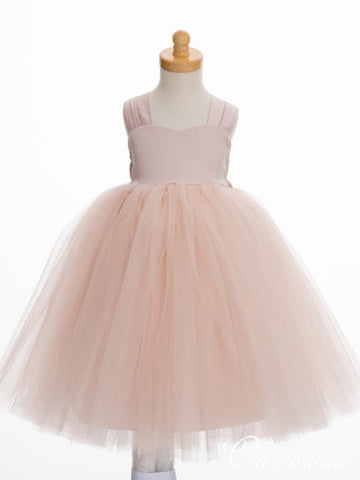 Straps Blush Pink Tulle Lovely Flower Girl Dresses