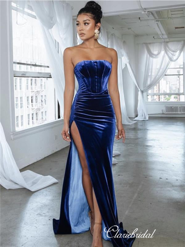 Strapless Mermaid Long Prom Dresses, High Slit Sexy Prom Dresses 2020