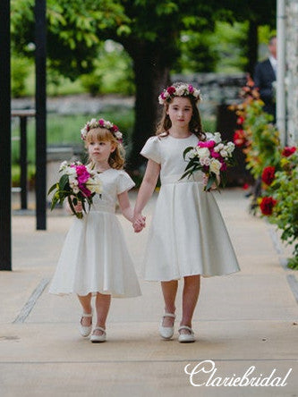 Short Sleeves Ivory Satin Lovely Flower Girl Dresses