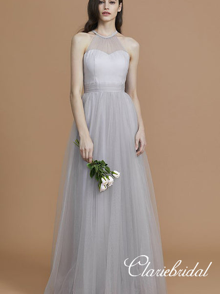 Illusion A-line Silver Tulle A-line Bridesmaid Dresses, Wedding Party Dresses