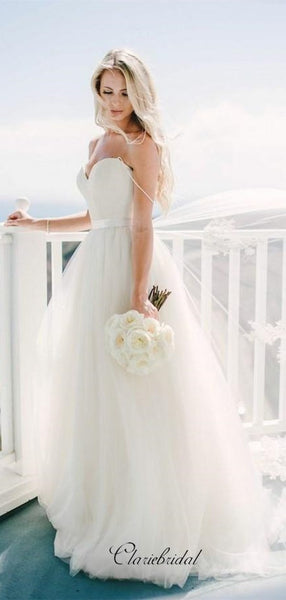 Sweetheart A-line Wedding Dresses, Strapless Wedding Dresses, Bridal Gowns