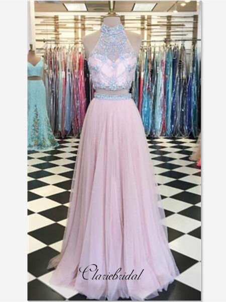 High Neck Halter Two Pieces Beaded Prom Dresses, A-line Tulle Prom Dresses