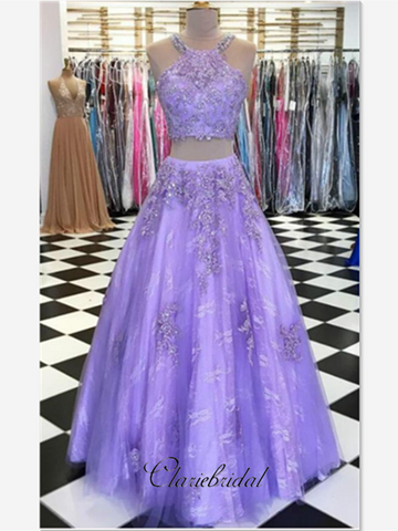 Two Pieces Purple Lace Elegant Prom Dresses, Popular Long Prom Dresses