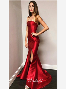 Strapless Stain Mermaid Prom Dresses, Evening Party Slit Prom Dresses