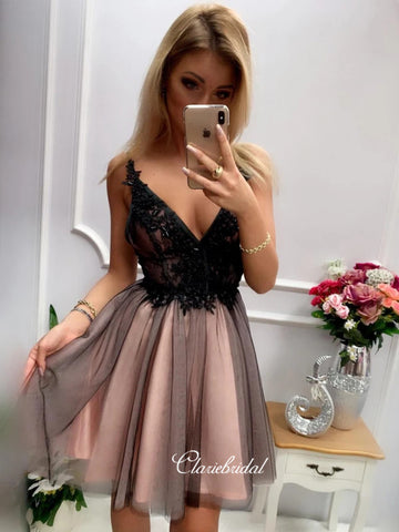 V-neck Homecoming Dresses, Sexy Lace Homecoming Dresses