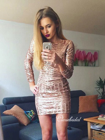 Long Sleeves Sequins Homecoming Dresses, Short Prom Dresses