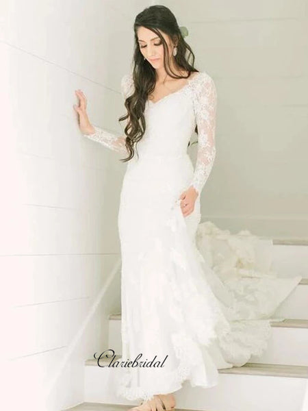 Popular Lace Wedding Dresses, Long Sleeves New Wedding Dresses