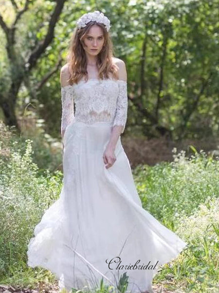Elegant Lace Wedding Dresses, Off The Shoulder A-line Wedding Dresses