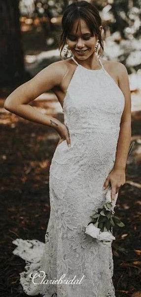 Sleeveless Sexy Wedding Dresses, Halter Lace Wedding Dresses