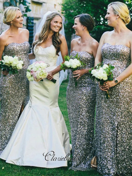Strapless Sequins Bridesmaid Dresses, Sweetheart Slit Bridesmaid Dresses