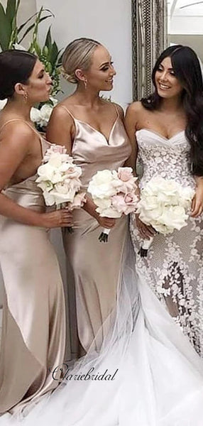 Spaghetti Straps Sexy Bridesmaid Dresses, Simple Cheap Bridesmaid Dresses