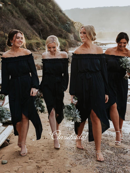 Popular Long Sleeves Off The Shoulder Bridesmaid Dresses
