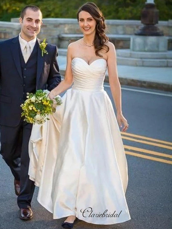 Sweetheart Strapless A-line Wedding Dresses, Simple Satin Wedding Dresses