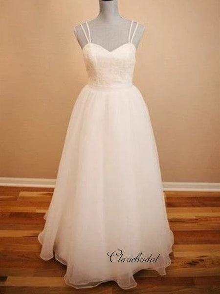 Spaghetti Straps A-line Wedding Dresses, Elegant Open Back Wedding Dresses