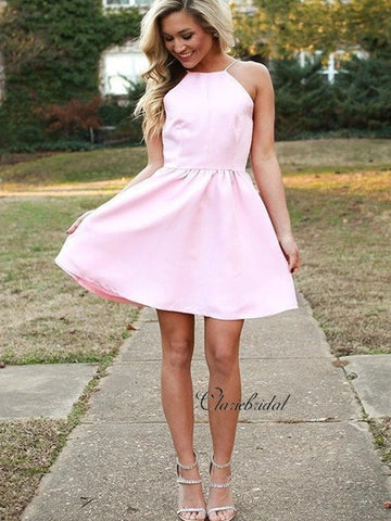 Halter Backless Pink Homecoming Dresses, Short Party Prom Dresses