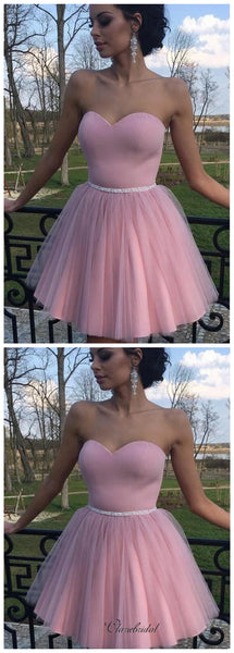 Strapless Tulle Homecoming Dresses, Home Party Short Prom Dresses