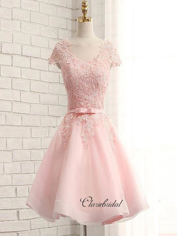 Cap Sleeves Lace Homecoming Dresses, Elegant Short Prom Dresses