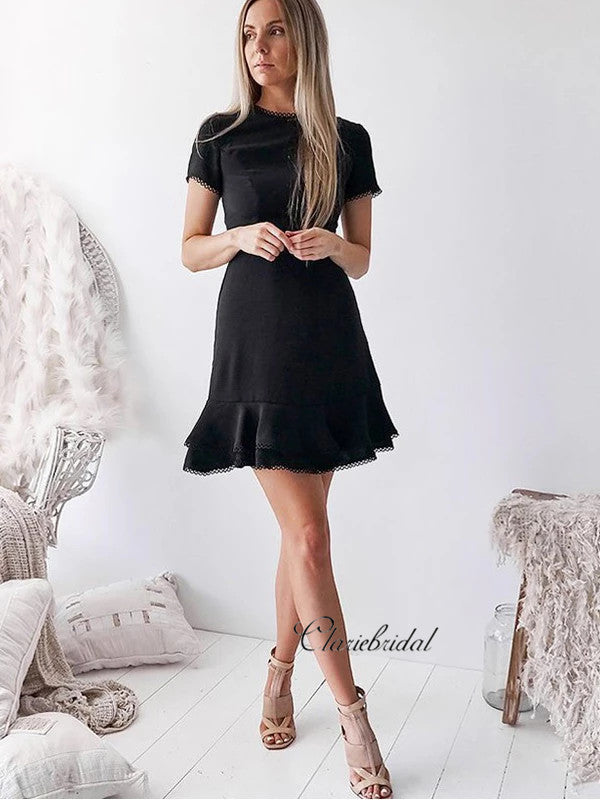 Black Short Prom Dresses, A-line Simple Design Homecoming Dresses