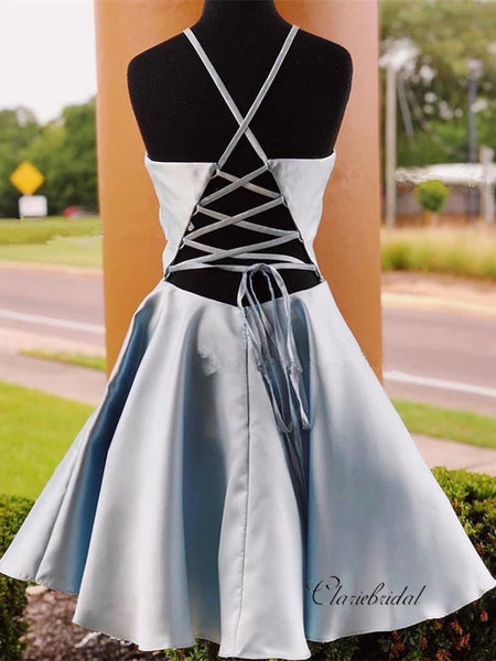 Halter Satin A-line Homecoming Dresses, Short Party Prom Dresses