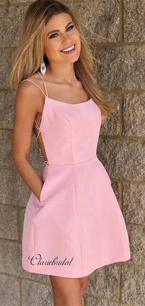 Simple Open Back Homecoming Dresses, Short Prom Dresses With Pocket