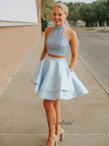 Two Pieces Design Homecoming Dresses, Beaded Halter Homecoming Dresses