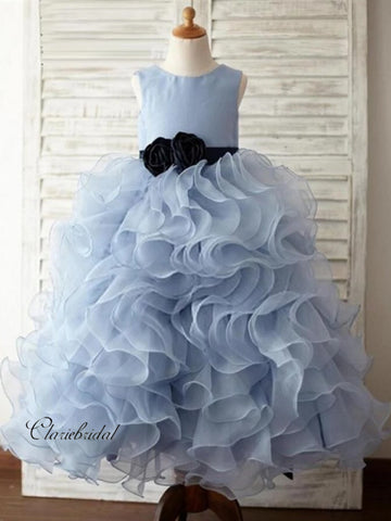 Blue Fluffy Flower Girl Dresses, Organza Little Girl Dresses
