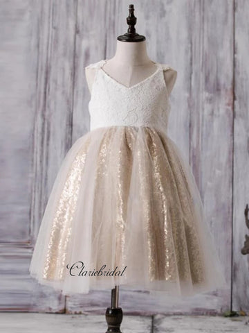 Lace Flower Girl Dresses, Sequins Flower Girl Dresses