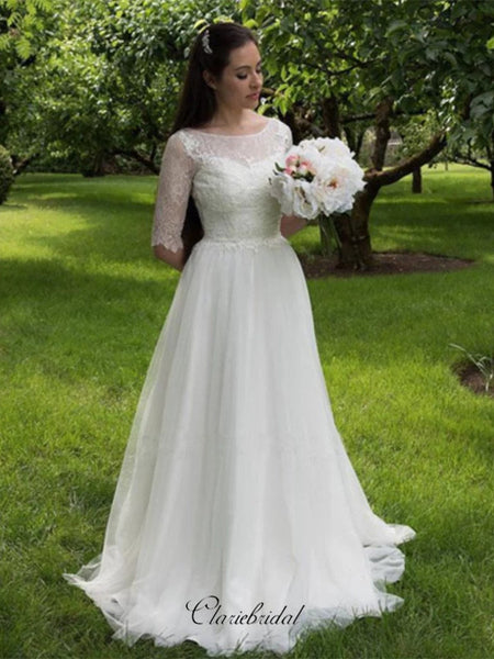 Mid Sleeves Lace Wedding Dresses, Tulle A-line Wedding Dresses
